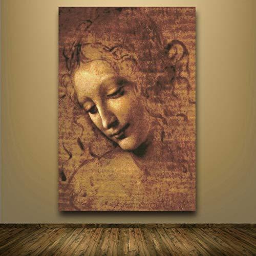 wZUN Cabeza de Mujer Pintura en Lienzo Arte clásico Imagen de Arte de Pared Sala de Estar Dormitorio 60x80 Sin Marco