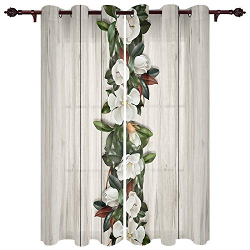 Window Curtains 27.5x39 Inch Long for Bedroom, Grommet Thermal Insulated Sheer Curtains Window Drapes for Living Room, Magnolia Flowers on Vintage Chic Wooden Plank 2 Window Curtain Panels