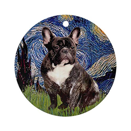 19 saijhii Starry-Brindle French Bulldog Round Holiday Christmas Ornament Xmas Gifts Christmas Tree Ornaments Ideas 2019