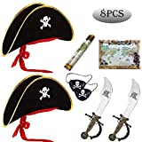 Pirate Hat Accessories, Sword & Eye Patch & Map,Buccaneer Captain Costume Cap for Pirate Themed Party Role Play Dress Up Set (Pirate Captain)