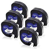 Xemax Compatible Plástico Cinta 12mm x 4m Reemplazo para Dymo LetraTag 91201 S0721610 Negro sobre Blanco Cintas para Dymo LetraTag LT-100H LT-100T LT-110T QX 50 XR XM 2000 Plus Etiquetadora, 6-Pack
