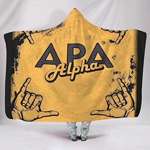 NC83 Draagbare deken grote deken met capuchon kunst-was patroon gedrukt Wearable fleece Super Comfort capuchon Robe - geel past cadeau van een vriend gebruik