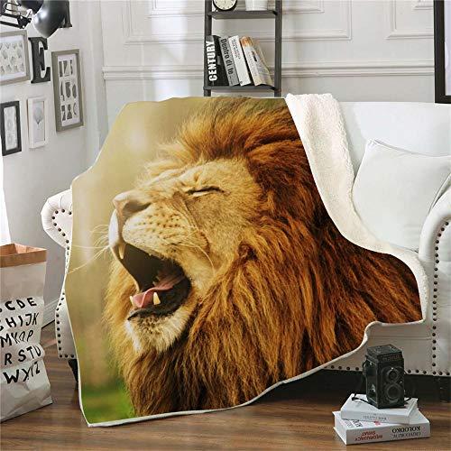 QQFENG Kuscheldecke Bedruckte Fleecedecke Schnarchender Löwe für Betten Dicke Steppdecke Tagesdecke Sherpa Decke Decke Erwachsene Kinder Büro Nap Decke 150 X 200 cm