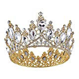 Santfe 2.9' Height Crystal Rhinestone Silver and Gold Plated Crown Full Circle Tiara Bridal Wedding Jewelry...