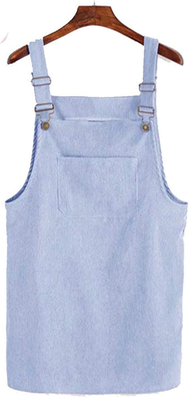 Solarfire Skirts Women Casual Corduroy Suspender Overall Vest Jumpsuit Braces Skirt Preppy Style Skirt,FTFX8083light Blue,S