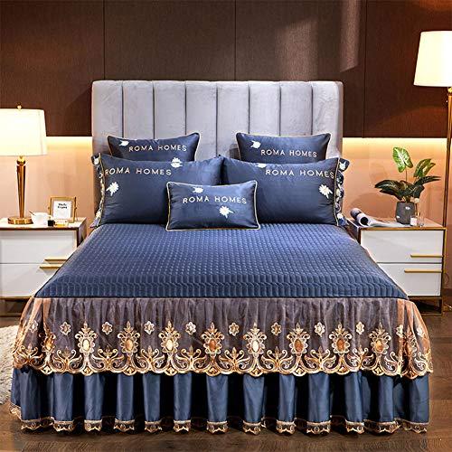 PENGSHAO Cordón Colcha para Cama y sofá Algodón, diseño Trenzado Colcha Cubrecama con 2 Fundas de Almohada para Verano Invierno 48 * 74 cm Colcha,Azul,180 * 200cm