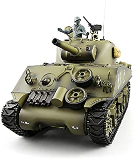 Heng Long RC Tank Pro Edition TK6.0 Remote Control 1/16 Scale US M4A3 Sherman RC Main Battle Tank with Metal Gearbox Tracks, 2.4Ghz Airsoft RC Tank