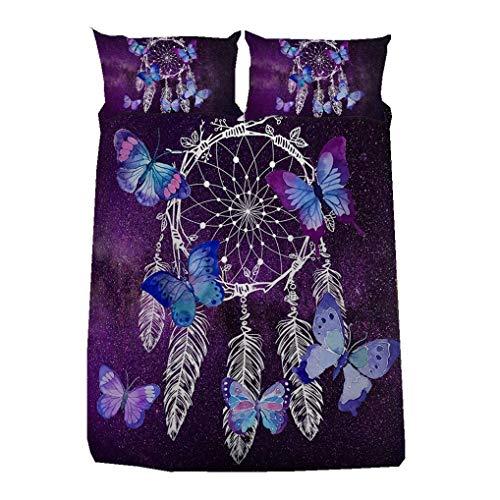 WENYA Unicornio Atrapasueños Juego de Cama Púrpura Galaxia Mariposa Flores Pluma Paloma Dinosaurio...