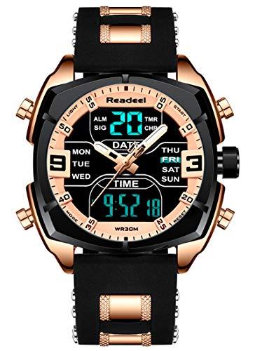 Youwen - Reloj deportivo multifunción para hombre, reloj militar, doble hora, LED, digital, cuarzo, resistente al agua, cronógrafo, Rose gold, Digital, movimiento de cuarzo