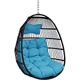 Sunnydaze Julia Hanging Egg Chair with Seat Cushions - Decorative Comfy Bohemian-Style Collapsible Chair - Black...