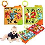 Ballery Lernspielzeug ab 1 2 3 Jahre, 2PCS Schwanzspiel Stoffbuch, Soft Bilderbuch Baby, Badebuch für Kinder, Fühlbuch, Baby Spielzeug Stoffbuch