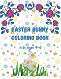 Easter bunny coloring book kids ages 4-8: Happy Easter Lined Journal for Kids, A pretty & Fun Activity Notebook Notepad Journal to Draw, Doodle, Collect Stickers, Write In Notes