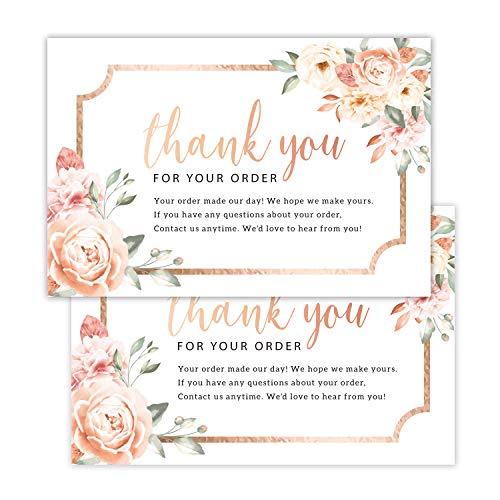 50 Stück Dankeskarten für Ihre Bestellung – Kunden-Dankeskarten – Vintage-Postkarten-Einlagen für kleine Unternehmen, Verpackungseinlage, 10,2 x 15,2 cm.