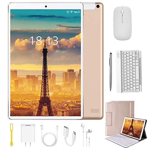 Tablet 10.1 Pulgadas 4G Android 9.0 Quad Core DUODUOGO Tablet Baratas 4GB RAM 64GB ROM/128GB Escalables 8000mAh Doble SIM/Cámara Tablet PC Netfilx WiFi OTG (Estándar + Teclado y Mouse, Oro)