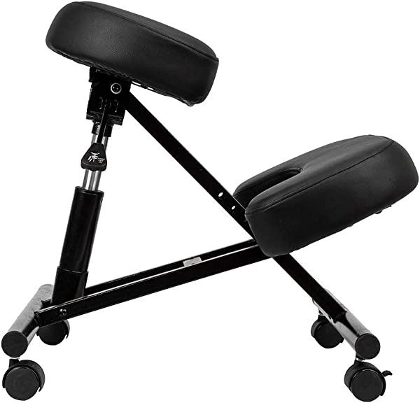 Ergonomic Kneeling Chair Hydraulic Automatic Adjusting For Neck Spine Back Problems Black