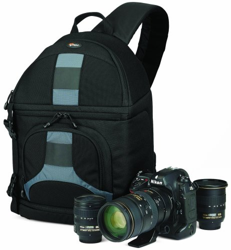 Lowepro Slingshot 202AW - Mochila para cámaras de Fotos DSLR y videocámaras, Negro y Gris