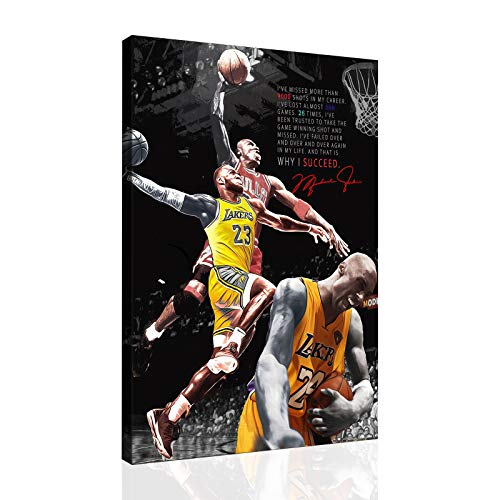 Basketball Kobe Bryant and Lebron James and MJ Dunk Canvas Wall Art Home Decor Lager Size Poster Painting (08x10inch,No Framed)