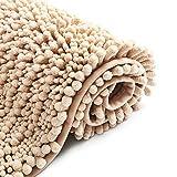 Color&Geometry Alfombra de baño Antideslizante de Chenilla Peluda de 40 x 60 cm, Alfombra de baño de Microfibra Suave, Lavable a máquina, alfombras de baño duraderas Que absorben Agua, (Beige)