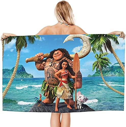 Moana - Toalla de playa para niños, diseño de anime, tamaño grande, unisex, absorbente, para playa y piscina (Moana 3,70 cm x 140 cm)