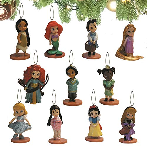 Disney Princess Toddler Ornament Set of 11 Pieces with Merida, Cinderella, Snow White, Rapunzel, Tiana, Mulan, Pocahontas, Aurora, Belle, Jasmine and Ariel