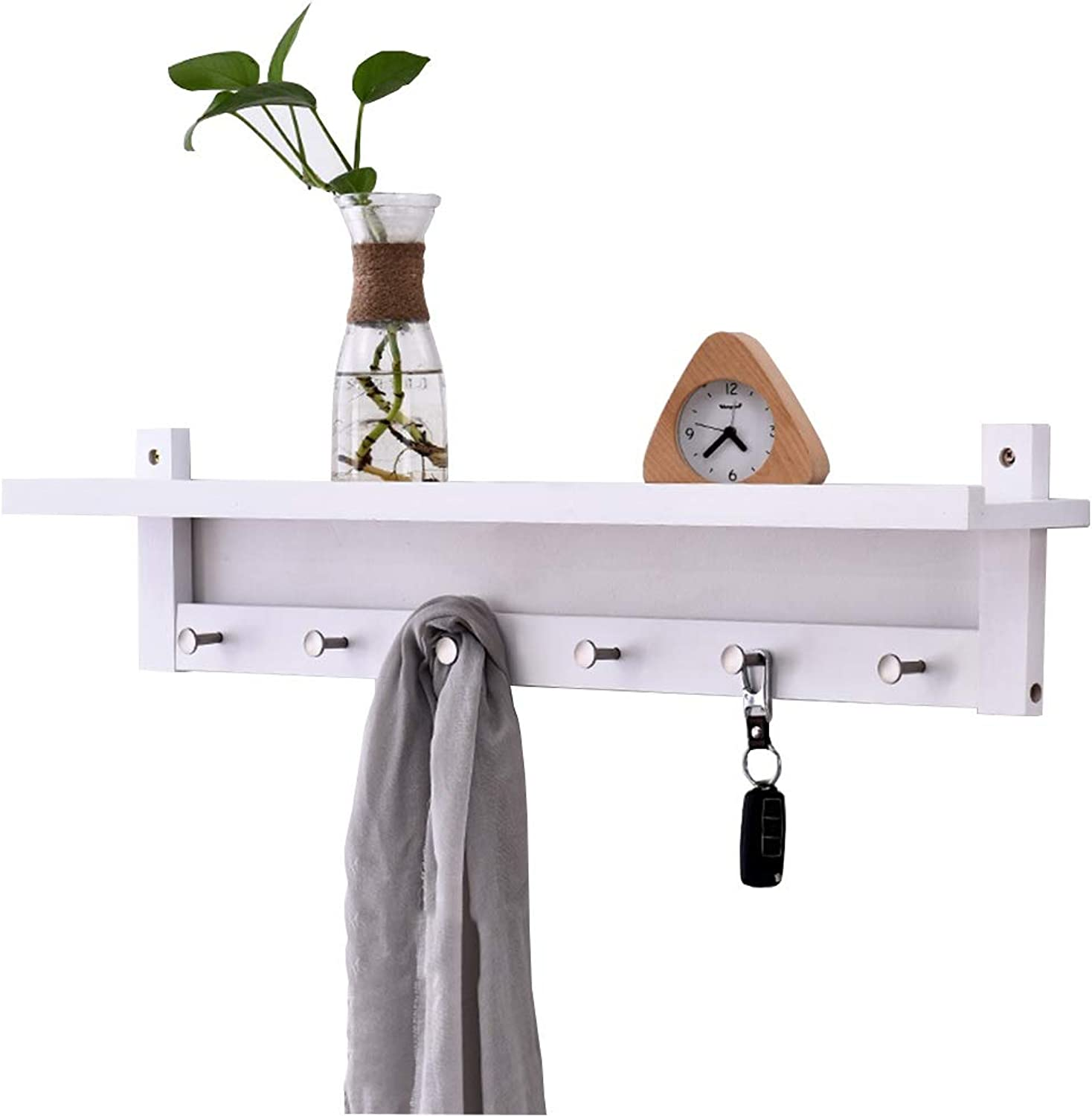 Feifei Coat Rack Solid Wood Creative Wall-Mounted Decorative Frame Multi-Function White Storage Rack Hanger, 4 Sizes (Size   86  12  18cm)