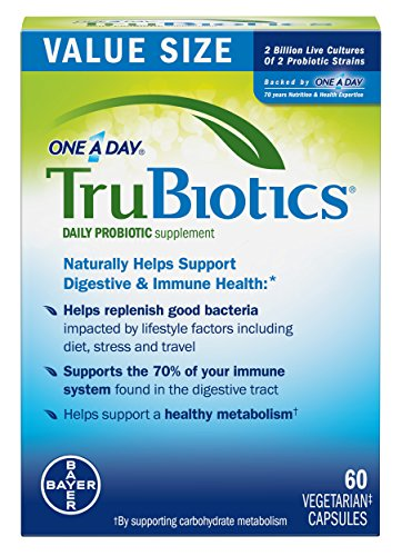 TruBiotics Daily Probiotic, 30 Capsules - Gluten Free, Soy Free Digestive + Immune Health Support Supplement for Men and Women