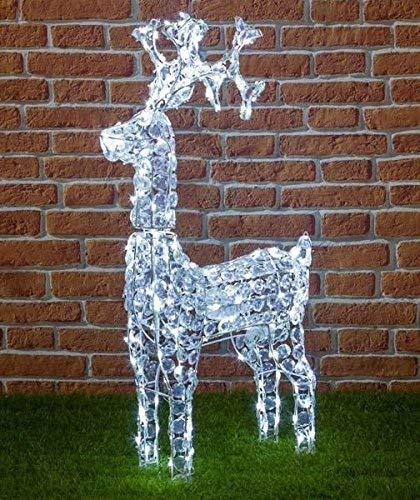 Renne avec cristaux, 200 LED blanches, H 90 cm