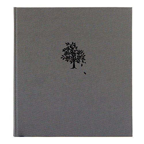 Kondolenzbuch Baum in Stoffeinband Grau, 24.8 x 22.8 cm, 72 Seiten cremefarbenes Papier blanko