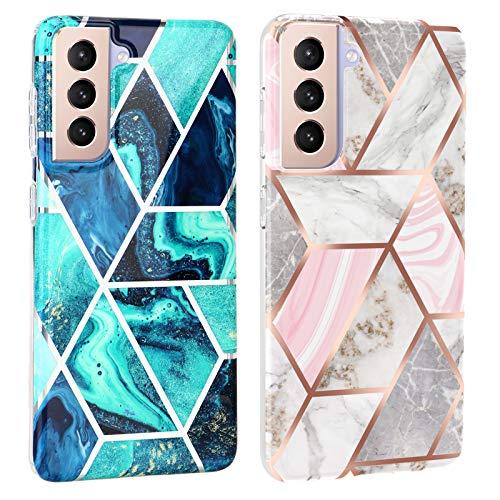 DREKEMU 2 Stück Marmor Hülle für Samsung Galaxy S21, Glitzer Silikon Handyhülle Schlank Weich TPU Bumper Handytasche Flexible Kratzfest Schutzhülle für Samsung Galaxy S21 6,2