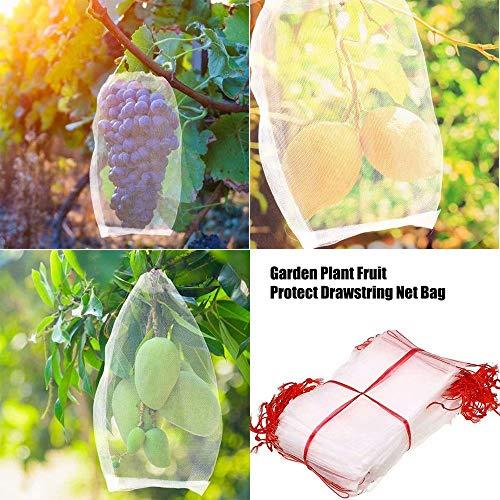 100pcs sacs de protection des fruits, filet d'arbre fruitier maille en nylon réutilisable contre les oiseaux insectes couvre les sacs avec cordon pour fleur, raisin, cerise, pastèque