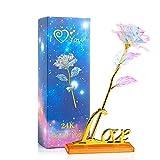 WolinTek Hoja de Oro 24K Rosa, Flores Artificiales de Rose con Soporte de exhibición con Caja de Regalo, para día de San Valentín, día de la Madre, Aniversario, cumpleaños, Boda, Navidad