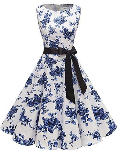Gardenwed Damen 1950er Vintage Cocktailkleid Rockabilly Retro Schwingen Kleid Faltenrock Blue Flower XS