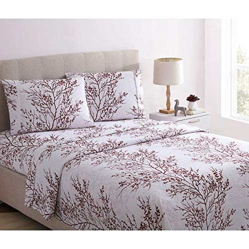 Spirit Linen Home 4pc Bed Sheets Set Printed Beautiful Foliage Design 1800 Bedding Soft Microfiber Sheet with Fitted Sheet and Pillowcases (King, Burgundy White)