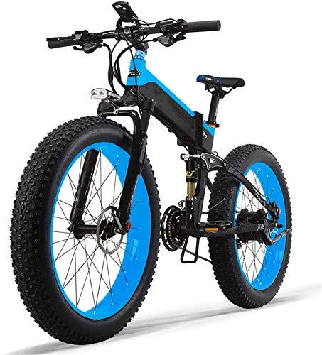 Bicicletta Elettrica, Bici di montagna elettrica 1000W 26inch Fat Tire e-Bike 27 Velocità Beach Mens Sports Bike for adulti 48V 13Ah batteria al litio bicicletta elettrica pieghevole ,Bicicletta