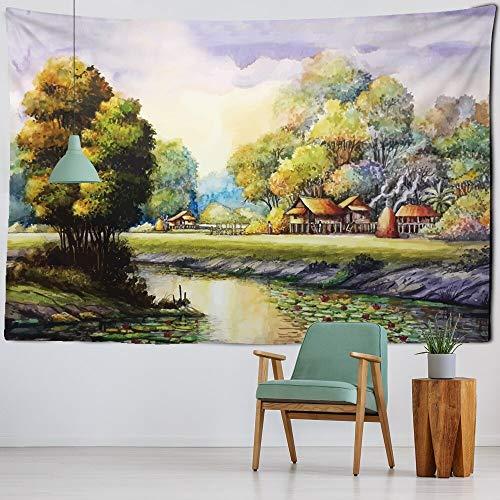 KHKJ Color Retro Pintura al óleo Tapiz para Colgar en la Pared Río Bosque Hippie Alfombras de Pared Decoración de Dormitorio Alfombra de Picnic Alfombras Mantel A2 200x150cm