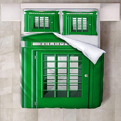 IXGMI Green Phone Booth Bedding, Duvet Cover Set Single 3pcs with Zipper Closure, Ultra Soft Microfiber 3D Digital Print Quilt Cover Set 135x220cm