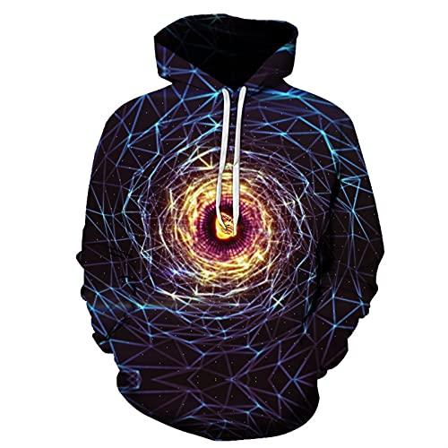 Sudadera con capucha para hombre con estampado HD realista y geometría abstracta de manga larga con bolsillo informal, I, XXX-Large