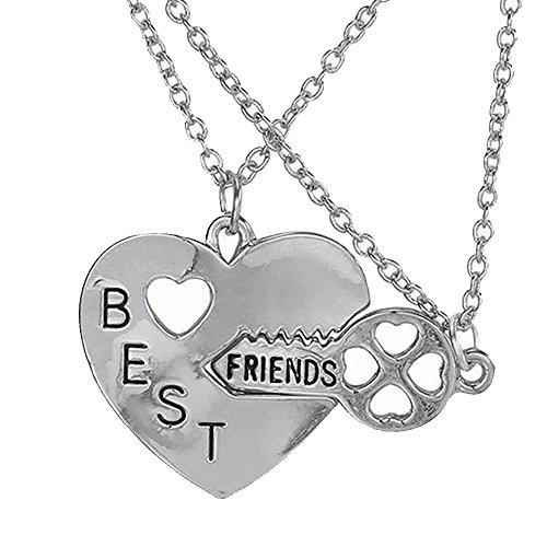 Collares de Elegante Rose, dos piezas, para mejores amigas, color plata, diseño de corazón y llave