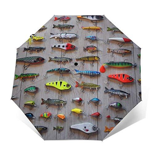 Paraguas plegable manual, el mejor cebo para pesca, paraguas de lluvia de doble capa, protección UV, práctico paraguas inverso.