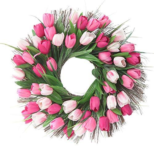 Front Door Wreath Artificial Pink Tulip Flower Wreath Handmade 18
