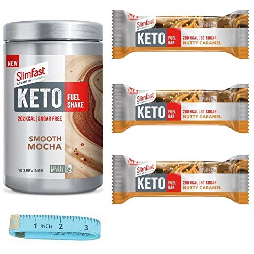 Slim Fast Advanced Keto Fuel Mocha Shake 350g And 3 Nutty Caramel Bars Weightloss Bundle With Tape Measure Nutritionally Balanced Diet For A Keto Lifestyle Made With Selected Fueled Ingredients