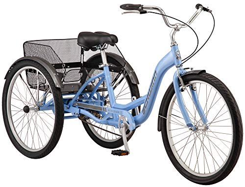Schwinn Meridian Adult Trike, Three Wheel Cruiser Bike, 1-Speed, 26-Inch Wheels, Cargo Basket, Periwinkle