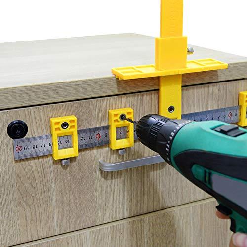 LAMF Herramienta de medición de carpintería ajustable para instalación de manijas, pomos en puertas y cajones.
