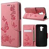 jbTec Handy Hülle Hülle Schmetterlinge passend für Huawei Honor 5C - Schutz Tasche Smartphone Flip Cover Phone Bag Klapp, Farbe:Rosa