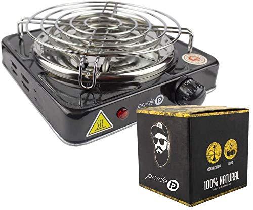 Pack para Shisha, Hornillo 1000W con Rejilla, Carbón de coco natural 26x26x26 (Negro Rejilla)