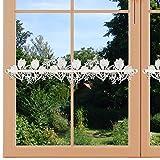 artex deko Feenhaus-Spitzenkante Tulpe und Blüten mit Schmetterling Hochwertige Frühlings-Fensterdeko Echte Plauener Spitze