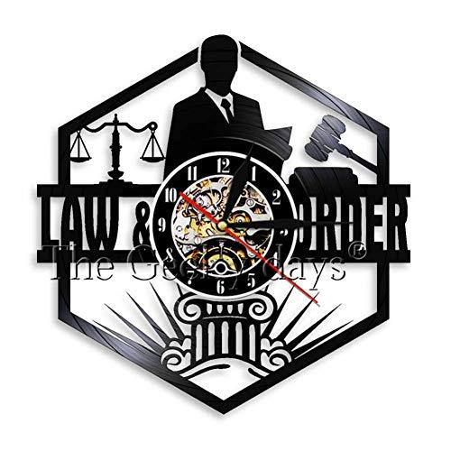 ttymei Gerichtssaal Dekor Waage der Gerechtigkeit Rechtsanwalt Office Attorney Wanduhr Vintage Schallplatte Wanduhr Anwalt