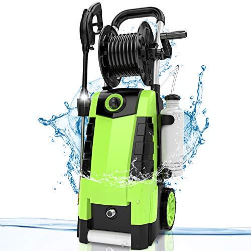 TEANDE 3800PSI Electric Pressure Washer, MAX 2.8GPM Electric Power Washer 1800W High Pressure Washer with Hose Reels MR3800 (Green)