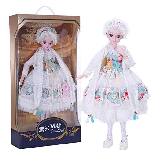 YNSW Weiße Blume Blume Hochzeitskleid Prinzessin Puppe Lucy BJD Puppe, 1/3 SD Puppe 60 cm 24 Inch 19 Verbunden Puppen Spielzeug Geschenk Zum Mädchen