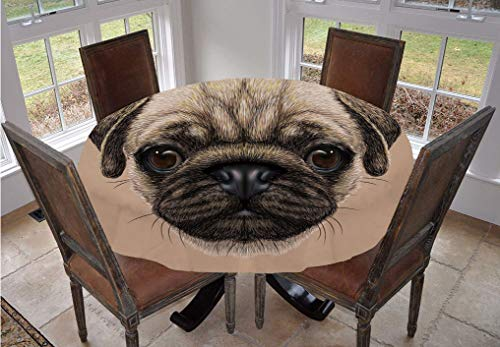 Pug Round Tablecloth,Detailed Portrait Drawing of a Dog Realistic Design of the Pet Animal Digital Art Decorative Polyester Table Cloth,60 Inch,For Parties Weddings Spring Summer Tan Pale Brown